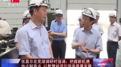 张昌尔在芜湖调研时强调:把握新机遇 抢占制高点 以智慧经济引领高质量发展