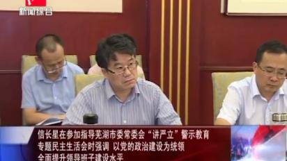 """信长星在参加指导芜湖市委常委会""""讲严立""""警示教育专题民主生活会时强调 以党的政治建设为统领"""
