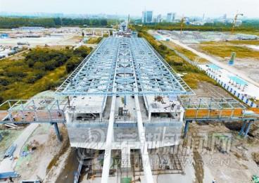轻轨首个车站主体建设基本完工