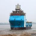 芜湖造船厂79米平台供应船首制船下水