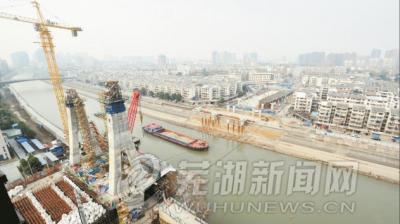 中江桥:跨江巨龙显雏形