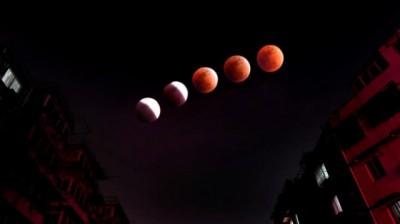 """""""红月亮""""现身 市民争相观看"""
