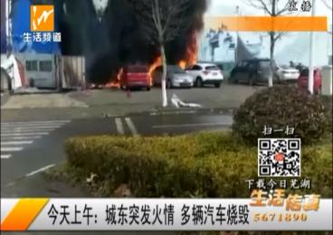 城东突发火情 多辆汽车烧毁
